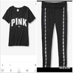 NWT VS PINK Tee & Leggings Set Sz Small